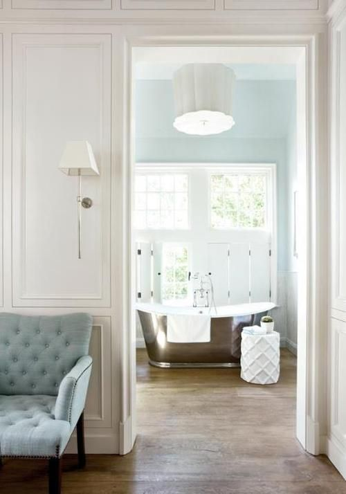 bathtub.: Color, Blue Wall, Interiors Design, Old Houses, Master Bath, Atlanta Home, Houses Tours, Blue Bathroom, Bath Time