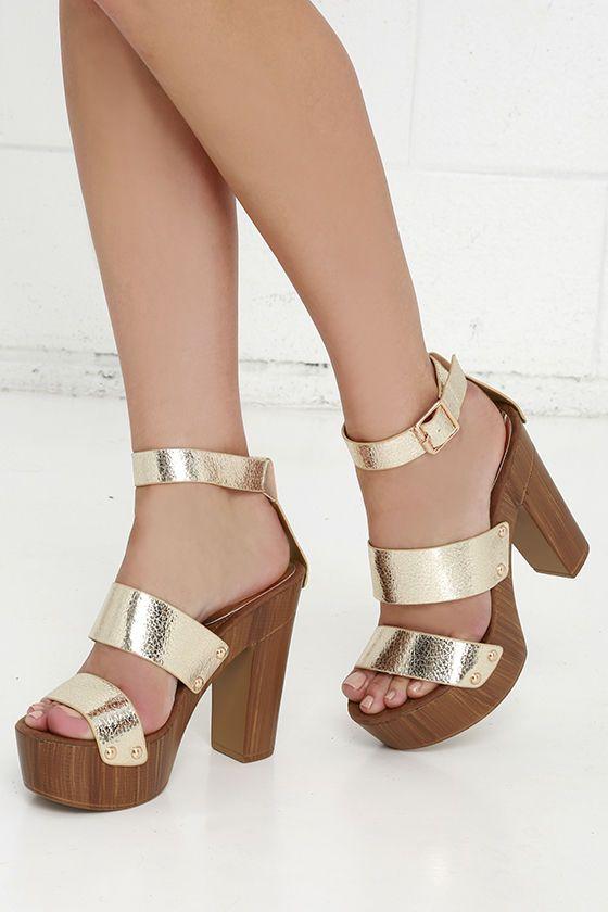 Goodness Gracious Gold Platform Heels at Lulus.com!