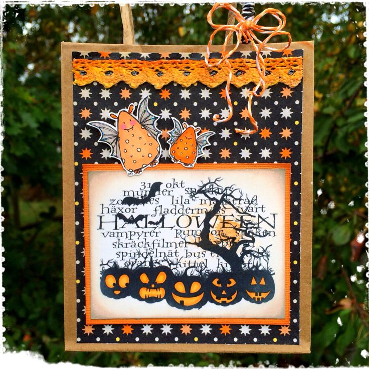 An altered paperbag for Halloween made by DT-Linda S http://blog.pysseldags.com/2014/10/halloween-pase.html