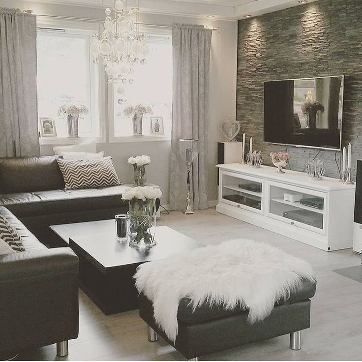 Black And White Living Room With Silver Accents. Find More Black And Silver Living  Room · Living Room Decor ...