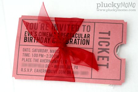 Free Movie Ticket Party Invite Printable - Hand them out with a pack of Popcorn!