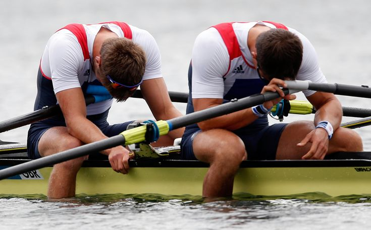 Bill Lucas and Sam Townsend of Great Britain react after finishing outside of the medal positions in the Men's Double Sculls final on Day 6 at Eton Dorney, Aug. 2, 2012 in Windsor, England. (Jamie Squire/Getty Images)