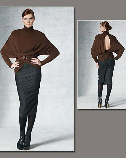 Oversized, pullover top has pleated collar with snap closure, shoulder pads, draped front extending to back with elastic forming drape and longer than regular length dolman sleeves pushed up. Tapered, lined, mock back wrap, draped, pull-on skirt, mid-calf, has tucks, back pleated or gathered tab, binding and twist detail.  FABRICS: † Moderate Stretch Knits. Top: Lightweight Jersey and Matte Jersey. Skirt: Lightweight Double Knit and Lightweight Wool Jersey. †† Two-way Stretch ...