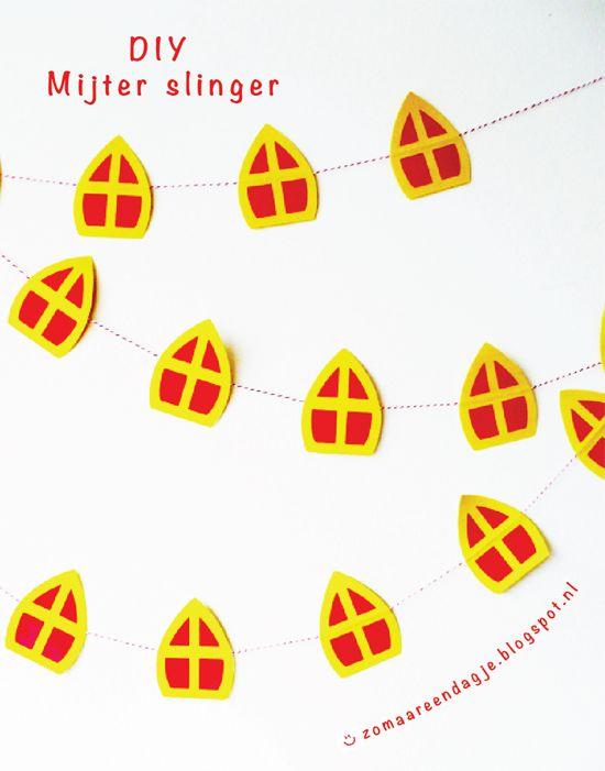 diy | mijter slinger | free printable pdf | sinterklaas