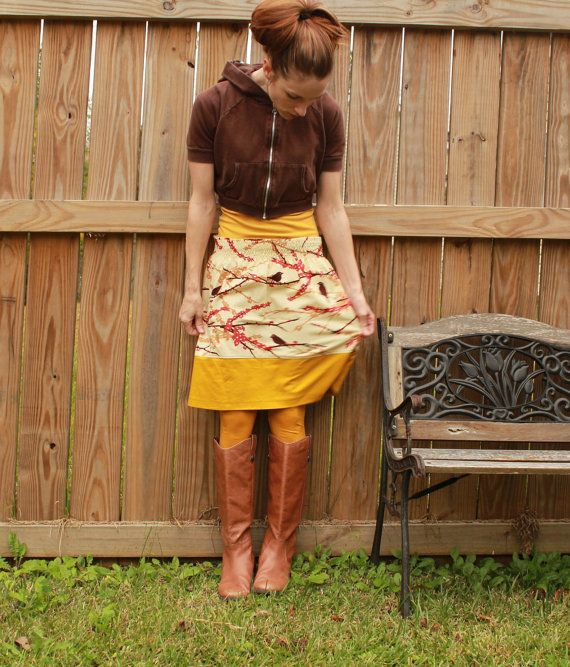 Gold Fall Aline skirt with birds XS S M L Xl by SweetHomeBoutique, $60.00