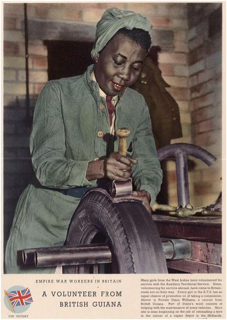 Empire war workers in Britain : a volunteer from British Guiana. - WWII propaganda photo, Great Britain (UK), women war workers, Guyana