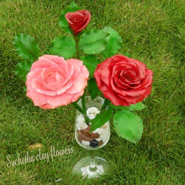 Rose..handmade clay flowers.. https://www.facebook.com/suchethaclay?ref=hl