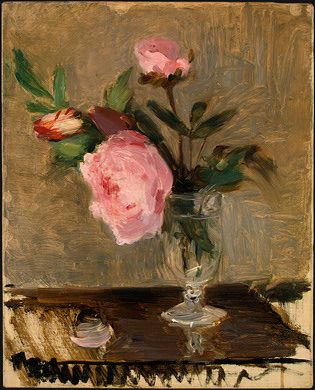 Peonies by Berthe Morisot. Berthe Morisot was among the few women in the original French Impressionist circle.