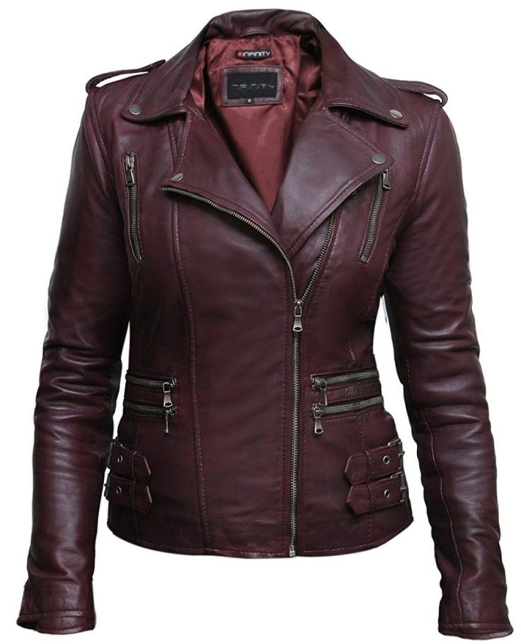 Ladies Womens Real Leather Biker Jacket