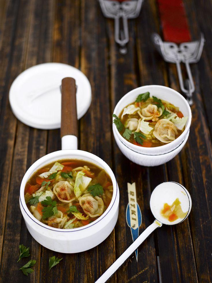 Pelmeni soup. Food Kati Pohja, style Kati Pohja & Ninna Lindström, photo Sami Repo. Glorian Ruoka&Viini Magazine 1/2013
