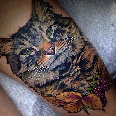 85 best tattoo katzen images on pinterest cat tattoos animal tattoos and cat tat. Black Bedroom Furniture Sets. Home Design Ideas