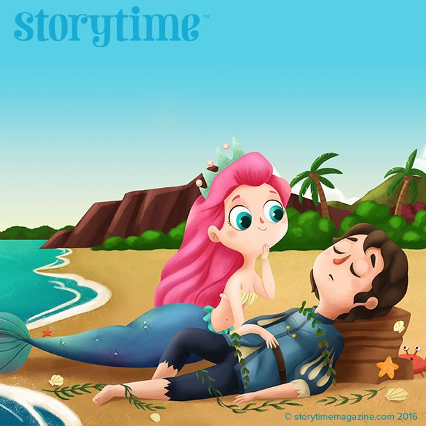 The Little Mermaid saves her prince in Storytime Issue 24's famous fairy tale. Illustrations by Martuka (http://www.martuka.com) ~ STORYTIMEMAGAZINE.COM