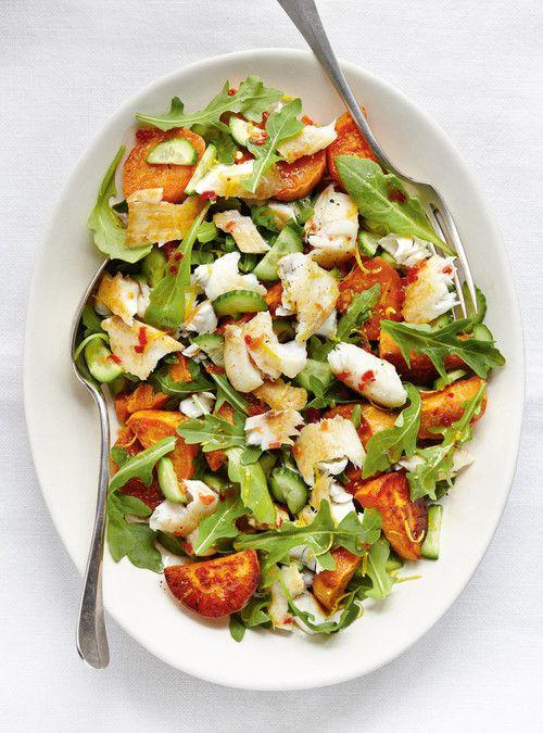 Salade de poisson et de patate douce au basilic Recettes   Ricardo