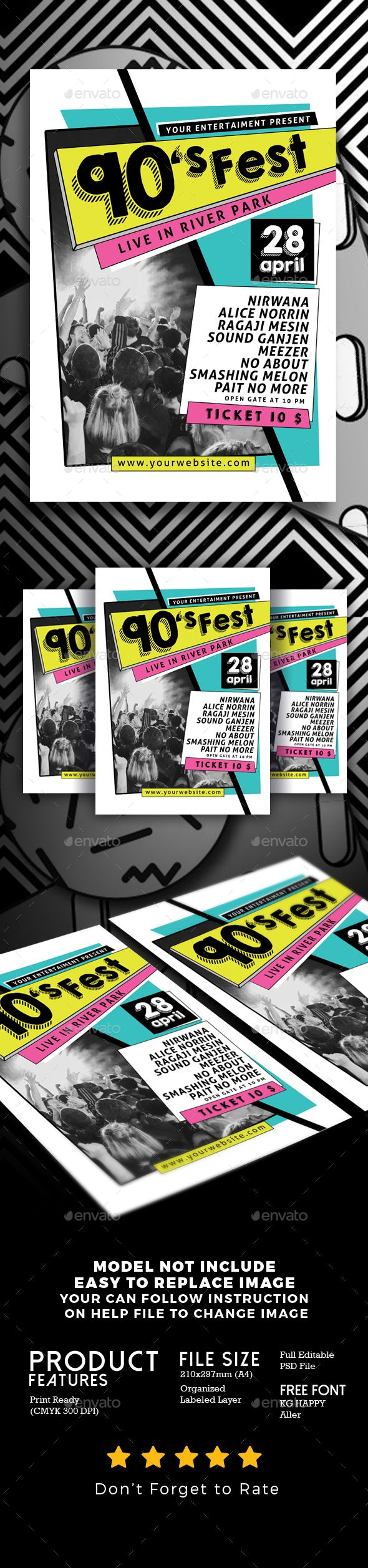90's Music Festival - #Events #Flyers Download here: https://graphicriver.net/item/90s-music-festival/19756971?ref=alena994