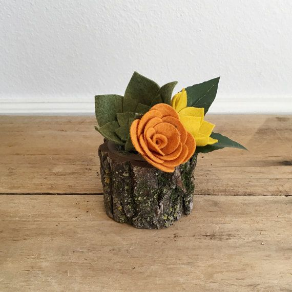 Succulent Planter || Mini Planter || Wood Planter || Felt Succulent Planter || Felt Flowers || Shelf Accessory || Desk Accessory