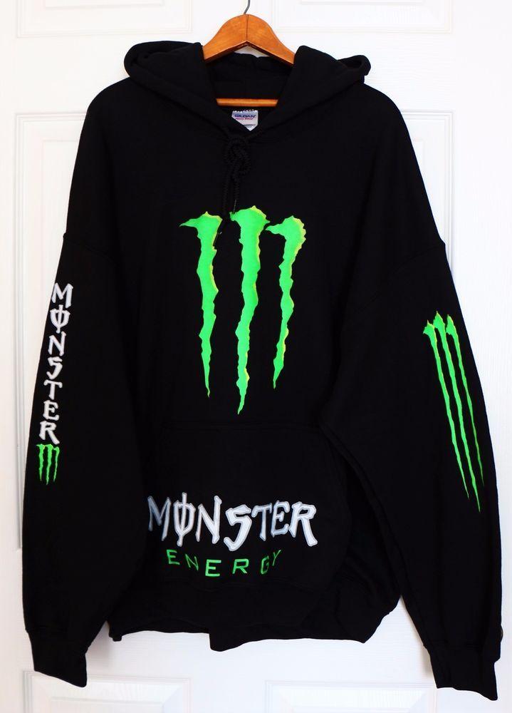 New MONSTER ENERGY Black Green Sweater Hoodie Pullover Mens Sz XL Cotton Pocket #Monster #Hoodie