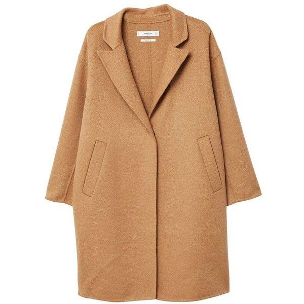 Wool Handmade Coat (955 NOK) ❤ liked on Polyvore featuring outerwear, coats, brown coat, mango coats, long sleeve coat, lapels wool coat and wool coat