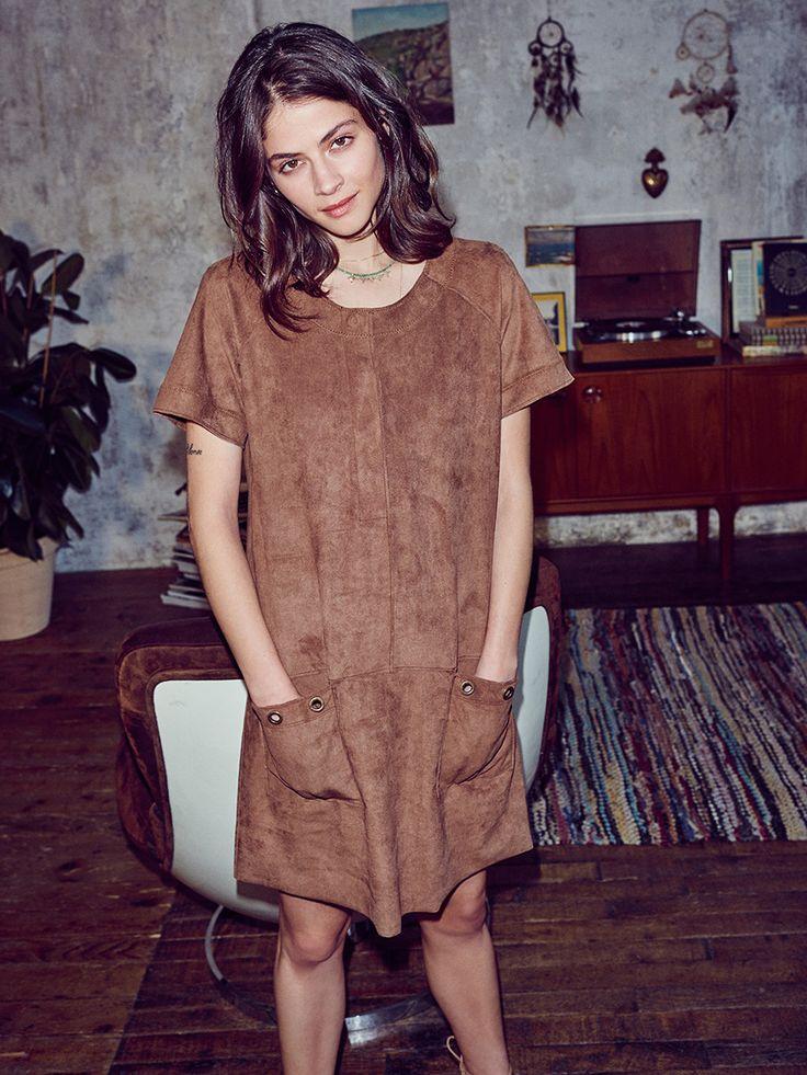 #ESPRIT #Spring #Lookbook #faux #suede #dress #70s #AlbaGalocha #style