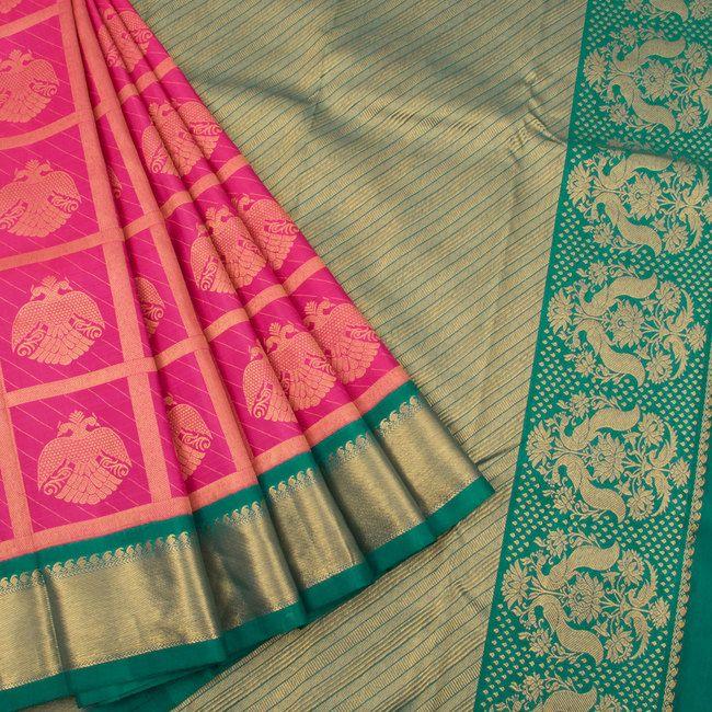 Handwoven Magenta Korvai Kanjivaram Silk Saree With Checks & Iruthalaipakshi Motifs 10017621 - AVISHYA.COM
