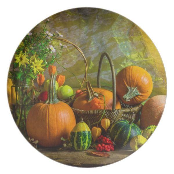 Halloween Autumn Fall Pumpkin Setting Table Melamine Plate