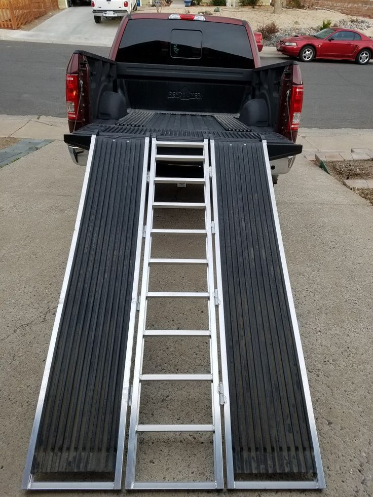 Used truck bed line on ramp for skies to ride on.