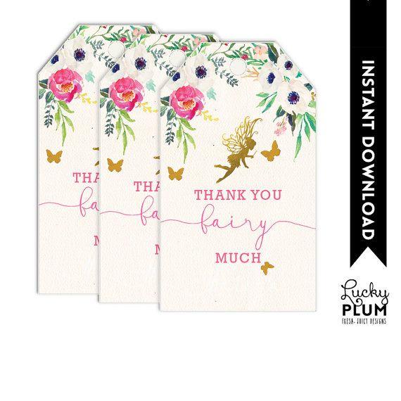 Fairy Favor Tag / Garden Favor Tag / Flower by LuckyPlumStudio
