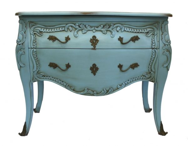 Teal Furniture   French furniture commode chest of drawers teal blue funky painted ...