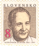 Alexander Dubcek, 1921-1992 on a slovak stamp, date of issue May 20, 1993.