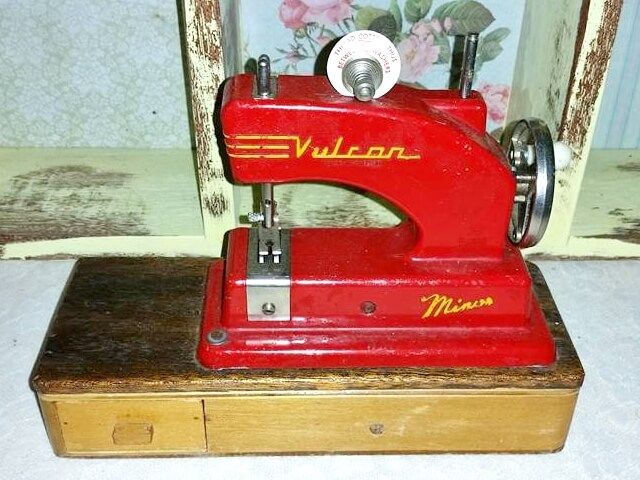 """Vulcan """"Minor"""" toy sewing machine. Photo by Mel Murphy. Used by permission."""