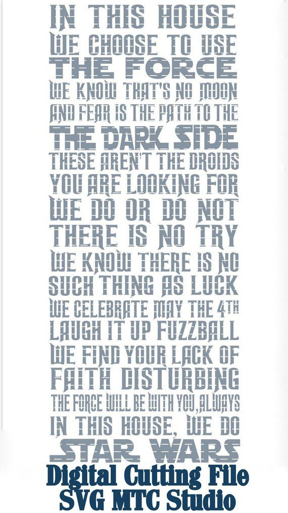 SVG Cut File Star Wars Vinyl Wall DIY Quote Saying with 31