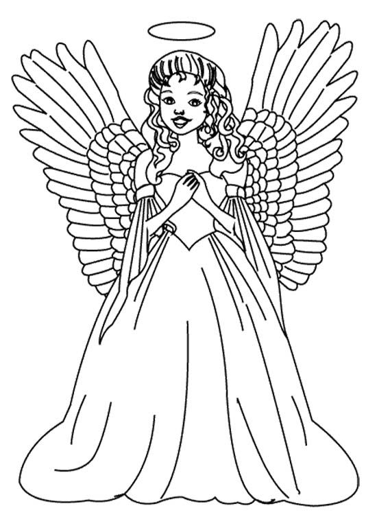 the girl christmas angel coloring page