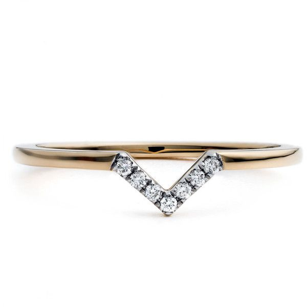 Diamonds Unleashed #She'sBrilliant Pavé Diamond V Stacking Ring (€450) ❤ liked on Polyvore featuring jewelry, rings, stackable rings, band rings, band jewelry, pave diamond ring and 18 karat gold ring