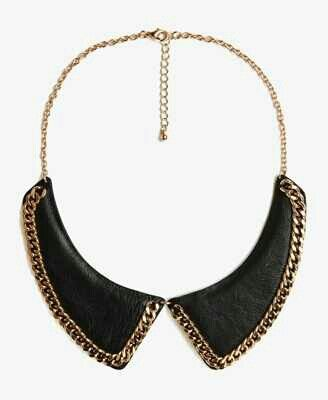 Black leather statment necklace