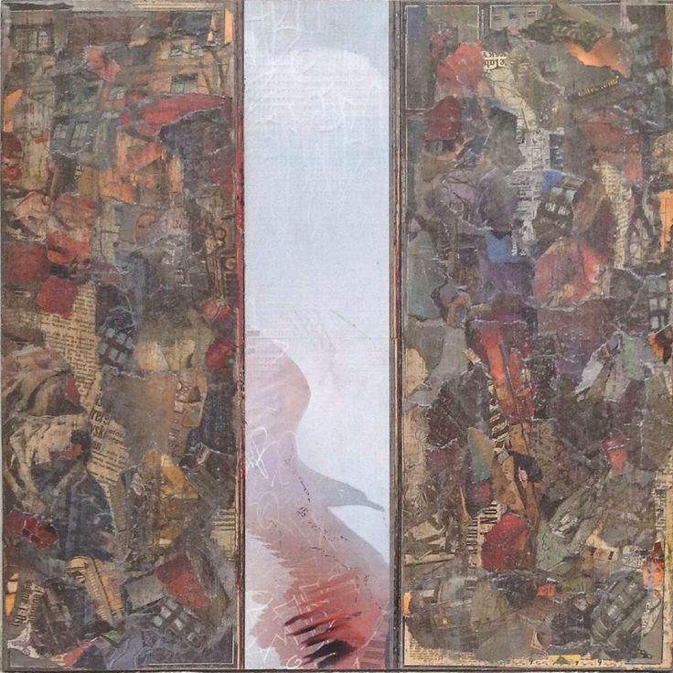 Red bird 60x60cm collage Inger Karthum