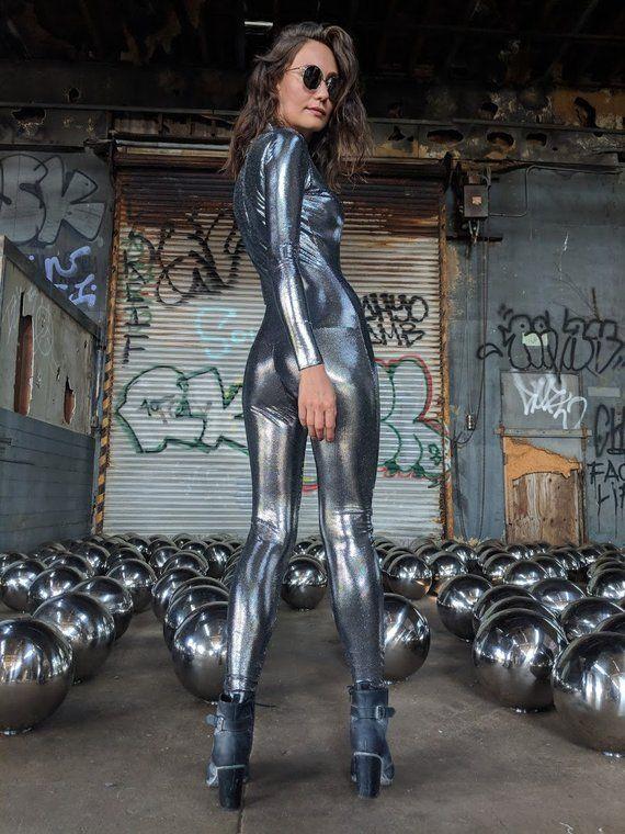 0a0f4eed65 Futuristic Burning Man Liquid Catsuit I Robot Reflective Mirror Metallic  Unitard Rave Outfit Black Rock City Festival Bodysuit