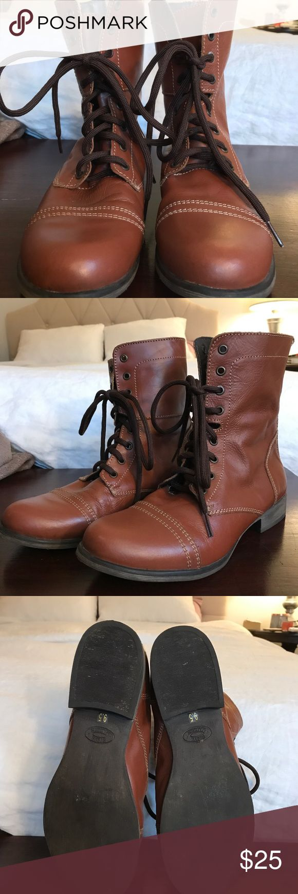 Steve Madden brown leather combat boots, size 9.5 Steve Madden brown leather combat boots, size 9.5 for sale Steve Madden Shoes Combat & Moto Boots