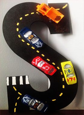 """Wooden Letter available in 13.5"""" Hand painted with Acrylic paint Miniature cars attached"""