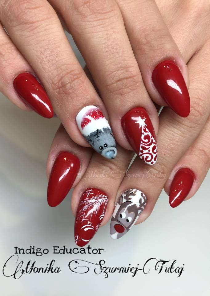 Gel Brush Red Hot Peppers. Teddybear nails winter nails christmas nails