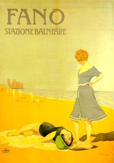 Fano Stazione Balneare , Riviera Adriatica (Italy) - vintage travel poster , Liberty Style - Art Nouveau #beach #riviera #essenzadiriviera.com