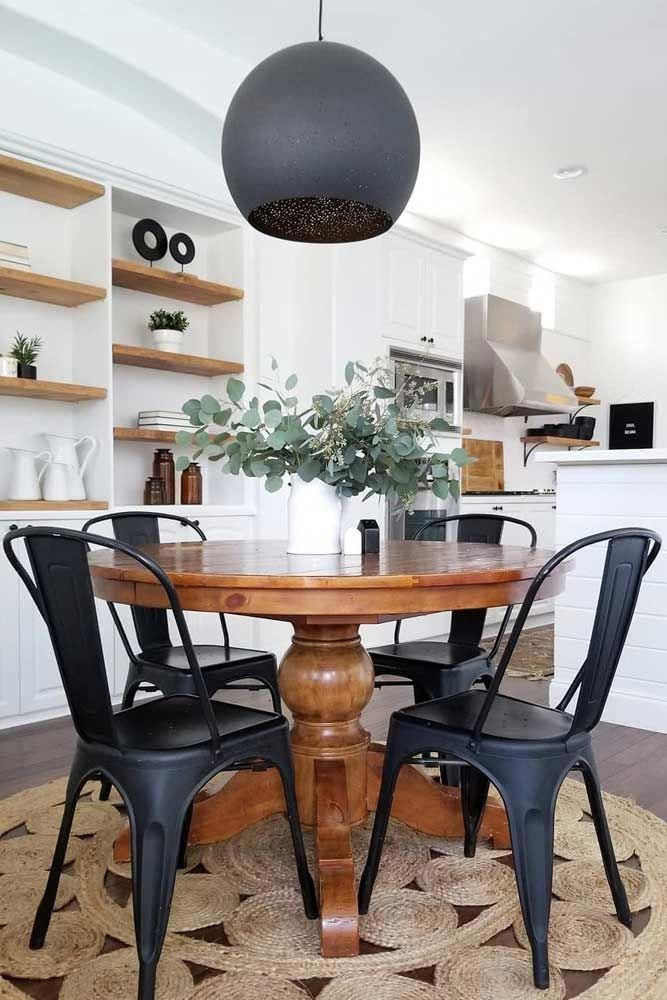 Wood Round Table With Black Metal Chairs Blackchairs