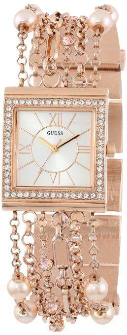 GUESS U0140L3 Rose Gold-Tone Embellished Bracelet Watch: Watches: Amazon.com