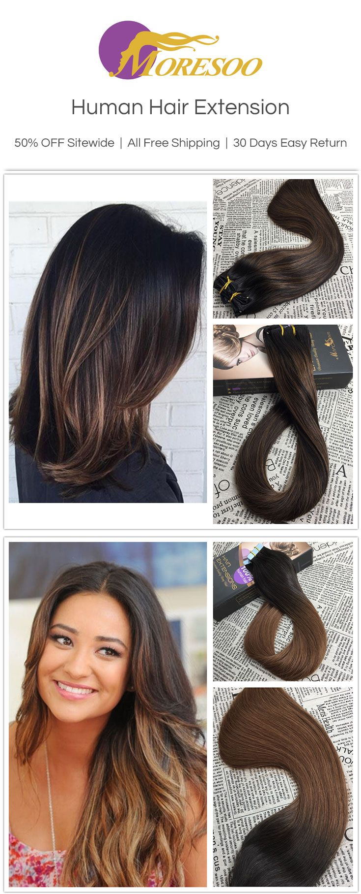 #Moresoo Human Hair Extension, tape in human hair extension. Best human hair extension gives you a new look.