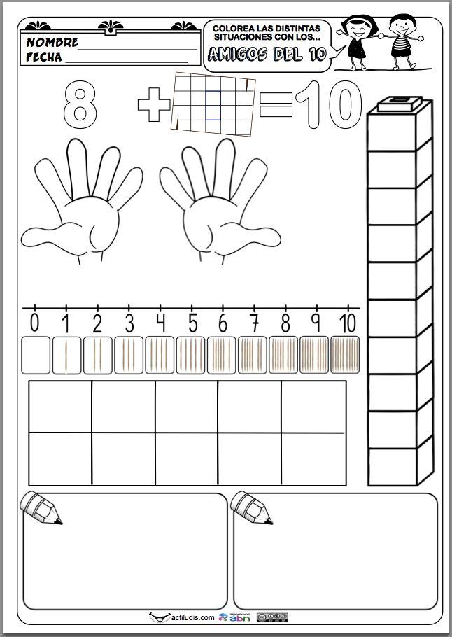 La siguiente ficha trabaja todas las combinaciones de las sumas que dan 10 (complementarios o amigos del 10) en la que se les pide al alumno una completa representaciones de la misma operación: en los dedos de las manos, con piezas de construcción, en la recta numérica, con palillos, en cajas …