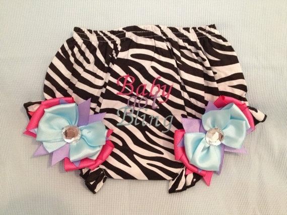 NEW BaBY GoT BLiNG ZeBRA BLOOMERS Diaper Cover by BabyCakesByBella, $26.95