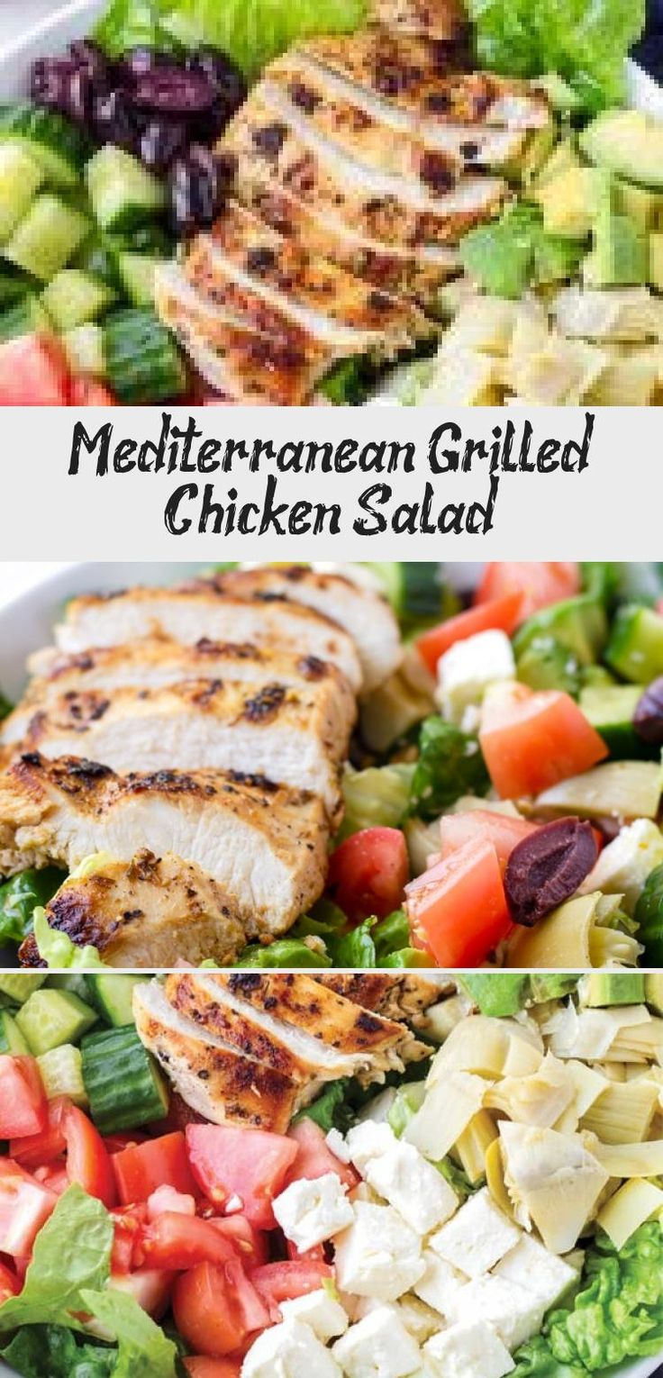 The best Mediterranean Chicken Salad! This Mediterranean grilled chicken salad is made with juicy a flavorful grilled chicken breast, complete with a mediterranean red wine dressing. Tossed feta, olives, avocado, and artichokes #cookingformysoul #mediterraneansalad #mediterraneandiet #grilledchickensalad #grilledchicken #mediterraneangrilledchicken   cookingformysoul.com #saladrecipesBroccoli #Ketosaladrecipes #Mexicansaladrecipes #Summersaladrecipes #Greeksaladrecipes