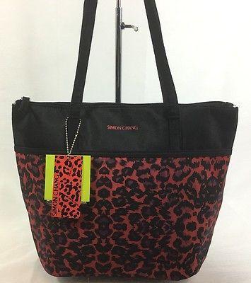 Simon Chang Lunch Bag Insulated Box Handbag Tote For Woman Black / Red   NWT