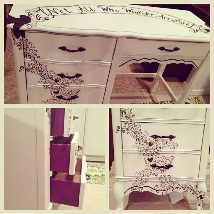 """Matching desk/vanity to my dresser makeover. """"Not all who wander are lost"""" reduce, reuse, recycle, upscale, furniture, purple, restored furniture, birds, banner, butterfly, entire black design is free handed and done in acrylic paint."""