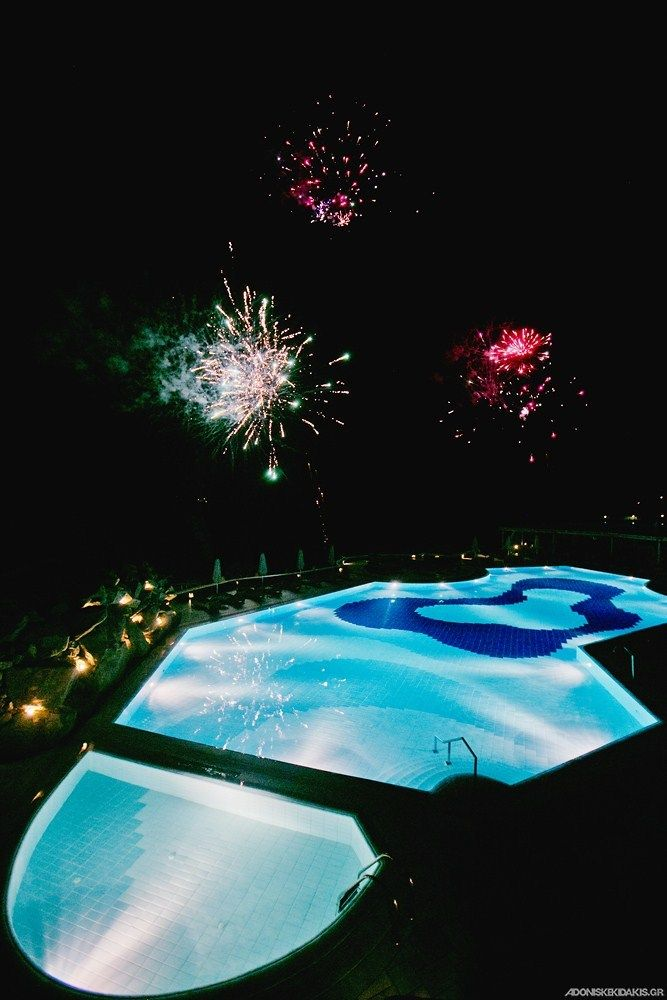 Fire works during diner? Yes we can at Mykonos Grand Luxury Resort