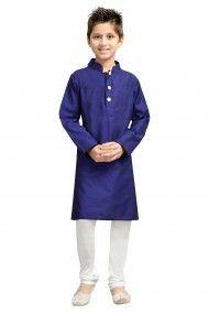 Cotton And Silk Party Wear Kurta Pyjama Set In Blue Colour