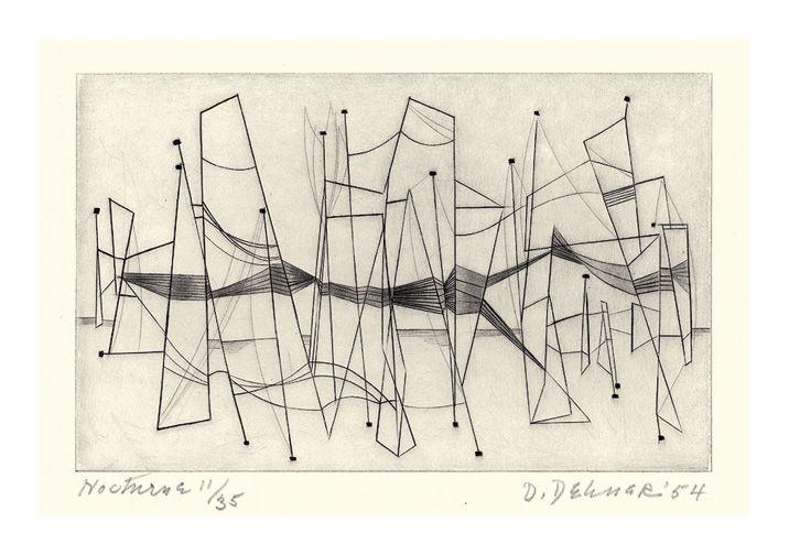 Dorothy Dehner (1901-1994) Nocturne- - 1954, Etching.
